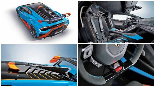 (Clockwise from top) aerodynamic aids, like the rear wing and less obvious ones, that keep the car stable at speed; the interior is race car-like and uses lightweight materials; the shark fin stands out at the rear, and the driving mode selector is on the steering wheel