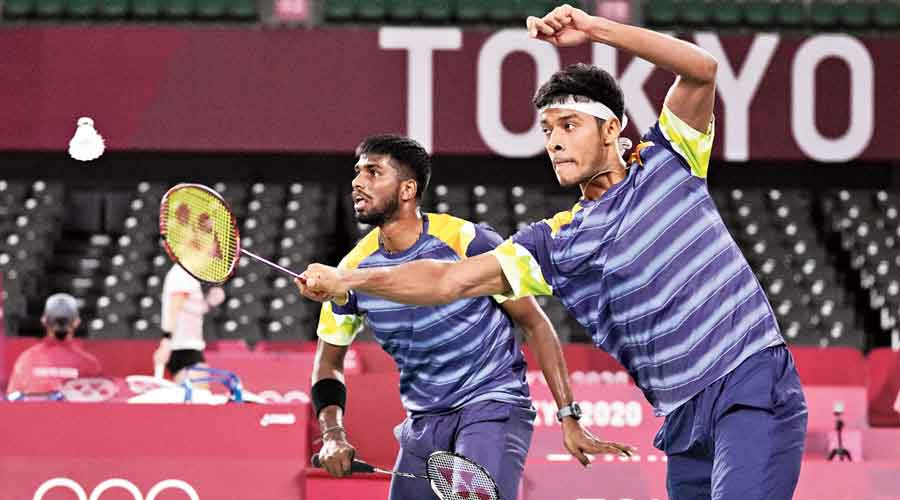 Satwiksairaj and Chirag during their match on Monday.