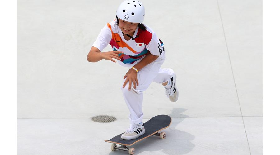 Gold medallist Momiji Nishiya at the Games on Monday.