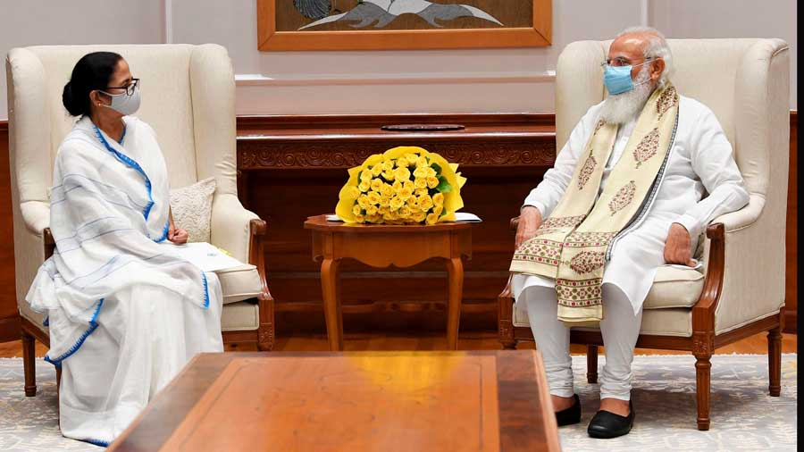 Prime Minister Narendra Modi with West Bengal CM Mamata Banerjee during their meeting in New Delhi.