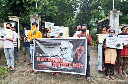 A silent protest near St Joseph Cathedral in Golmuri, Jamshedpur, for Father Stan Swamy