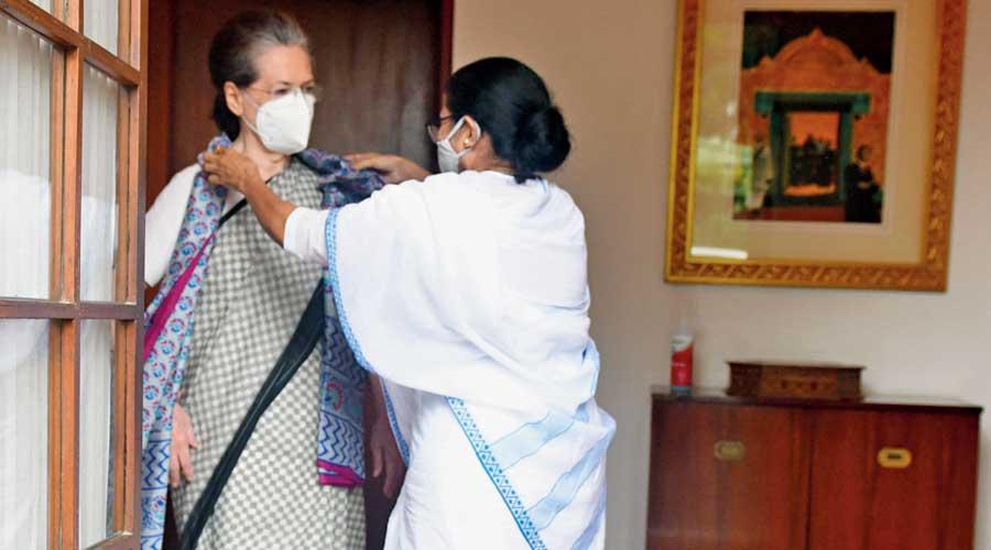 Mamata Banerjee with Sonia Gandhi at 10 Janpath on Wednesday