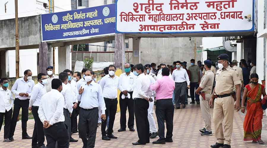 Judges and lawyers gathered at the SNMMCH in Dhanbad on Wednesday