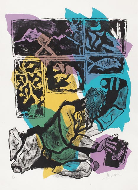Untitled work by M.F. Husain at the DAG fundraiser