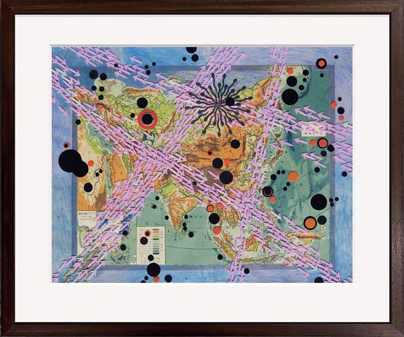 Bharti Kher — A small world together II, 2021, Bindis on map, 38 x 45.7 cm