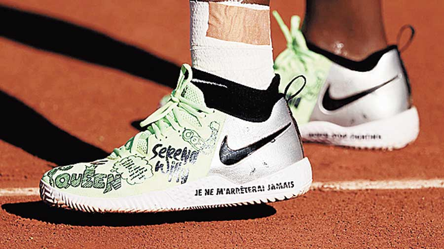 A close-up of Serena Williams' shoes at the French Open on Monday.