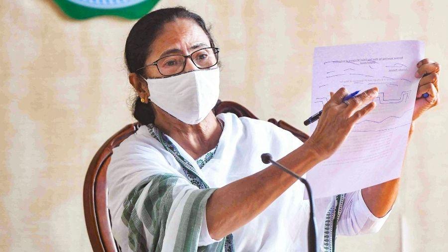 Mamata Banerjee during a press conference at Nabanna on Wednesday.