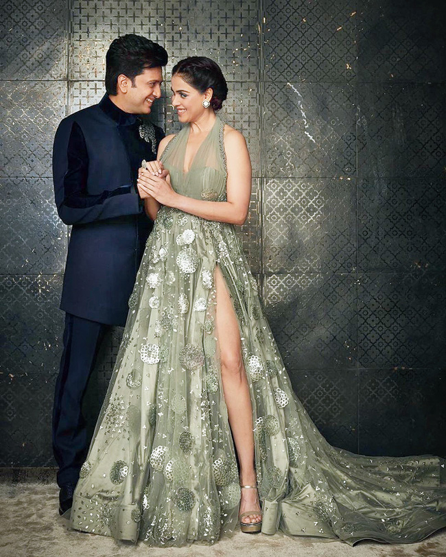 Genelia with husband Riteish Deshmukh.