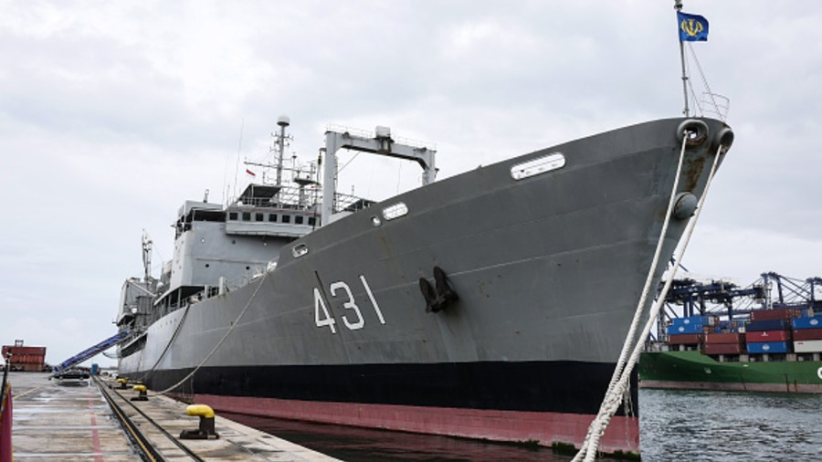 Iranian navy stand on the Kharg ship at Tanjung Priok port in Jakarta, Indonesia on February 27, 2020.