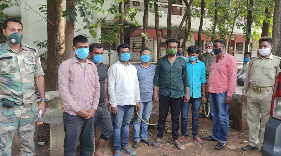 The arrested individuals in Uranium recovery case in Bokaro.