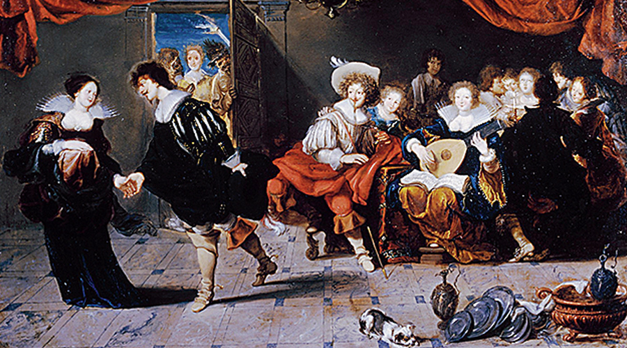 Merrymakers in an Inn, a Baroque painting by Simon de Vos.
