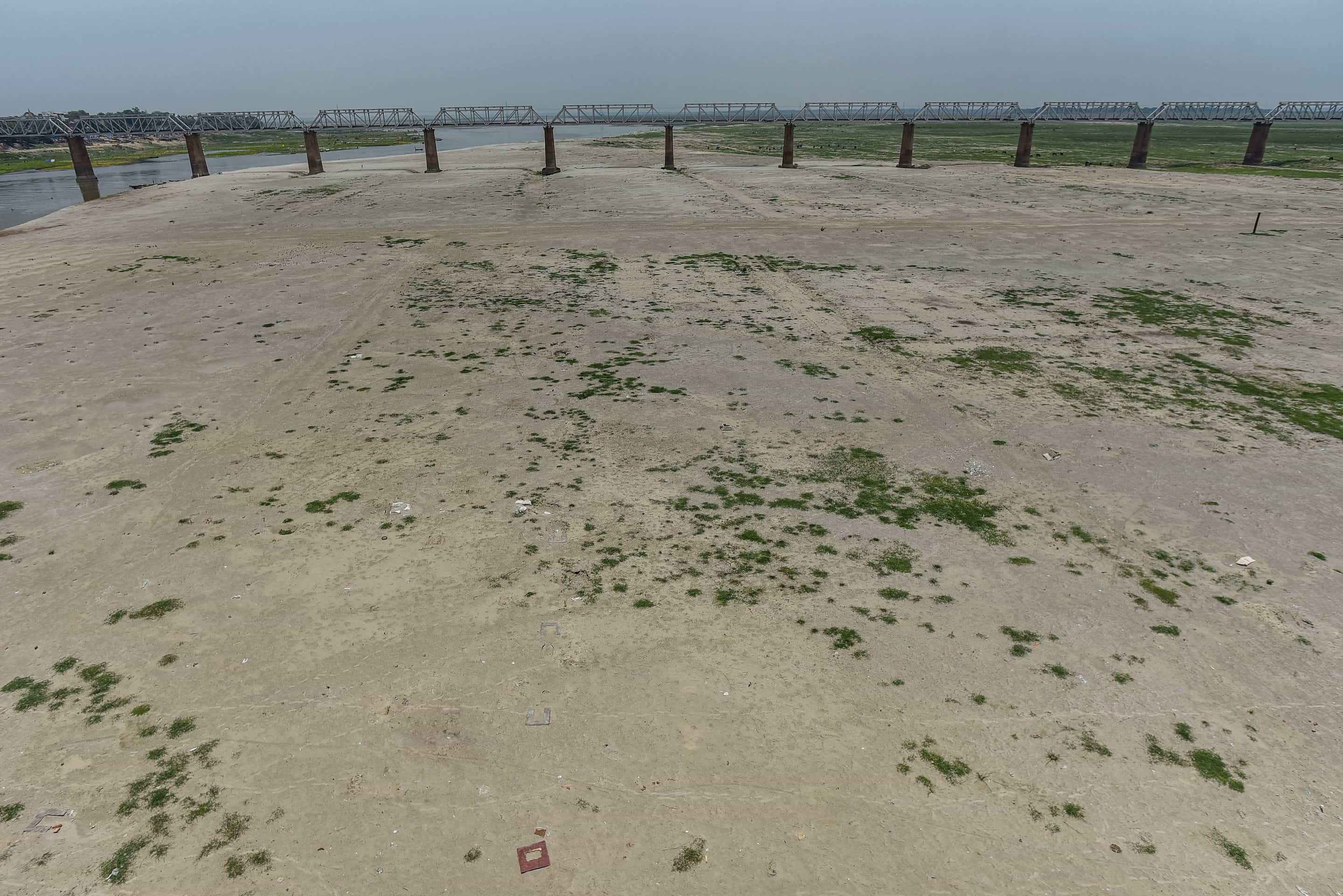 A dried-up river Ganga waits for water on Saturday, near Sangam in Allahabad.