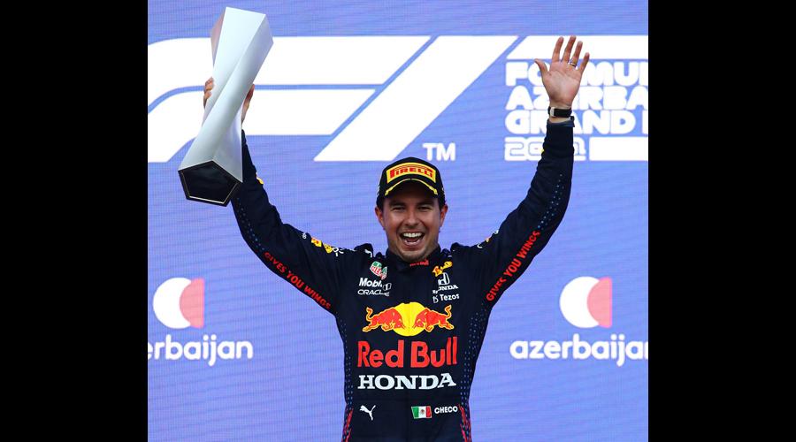 Red Bull's Sergio Perez celebrates after winning  the Azerbaijan GP on  Sunday.