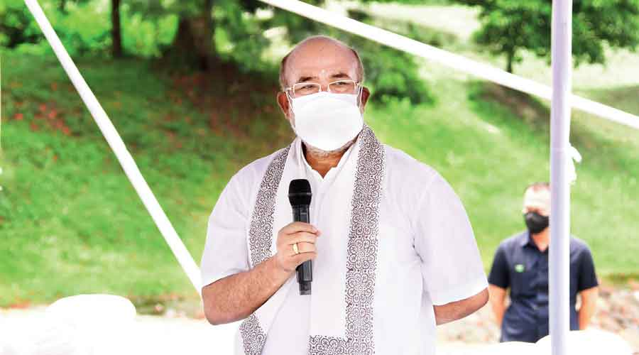 Manipur chief minister addresses  the inter-faith prayer in Imphal on Monday
