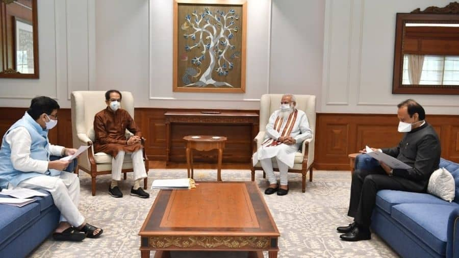 Uddhav Thackera, Ashok Chavan and Ajit Pawar during a meeting with Narendra Modi on Tuesday.