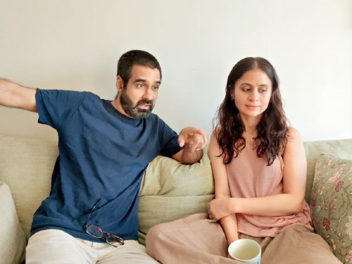 Mukul Chadda at home with wife Rasika Dugal, who has collaborated with him on their lockdown short film Banana Bread, which is on YouTube