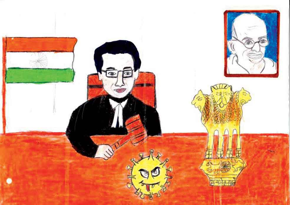The drawing that Lidwina Joseph enclosed with her letter to the Chief Justice of India.  It illustrates proceedings in  the court where  the judge is seen smashing the coronavirus with the gavel. The Tricolour, the  Lion Capital of Ashoka (the emblem of India) and  the Father  of the Nation complete  the drawing