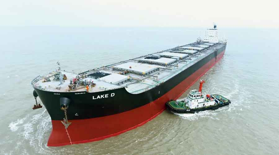 The capesize vessel from Australia stationed off the Sagar Island.