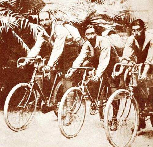 Jal Bapasola, Rustom Bhumgara and Adi Hakim on  their Royal Benson Cycles, 1923