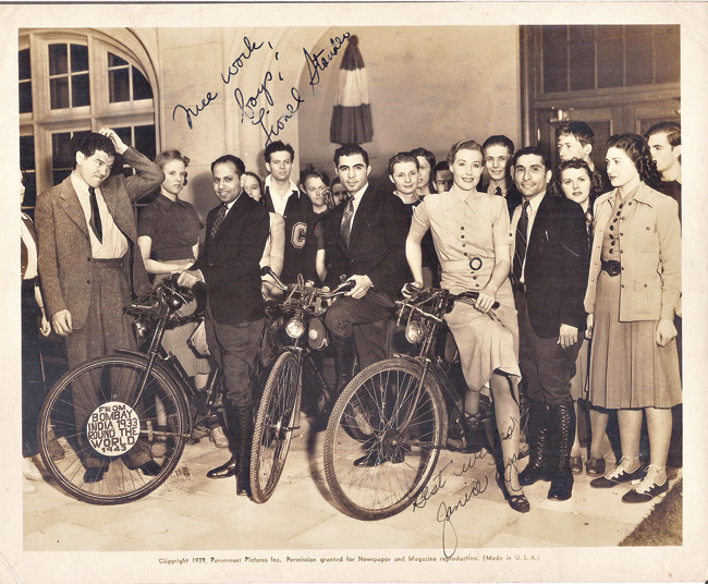 Kaikee Kharas, Rutton Shroff and Rustam Ghandhi in Hollywood in 1939. They are seen with actors Lionel Stander and Janice Logan