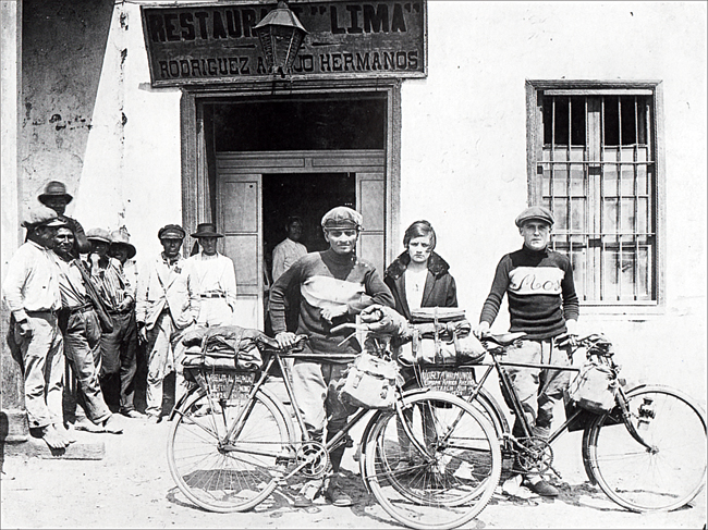 Framroze Davar and Gustav Sztavjanik in Lima, Peru in 1928, before starting their ride across Amazon