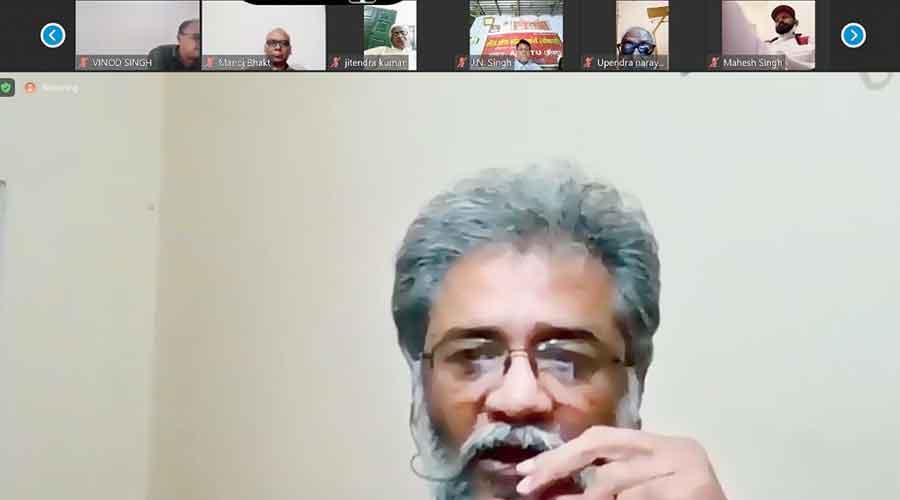 CPI-ML general secretary Dipankar Bhattacharya addresses  the webinar on Wednesday