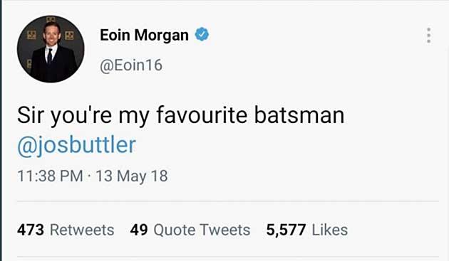Eoin Morgan's tweet from 2018