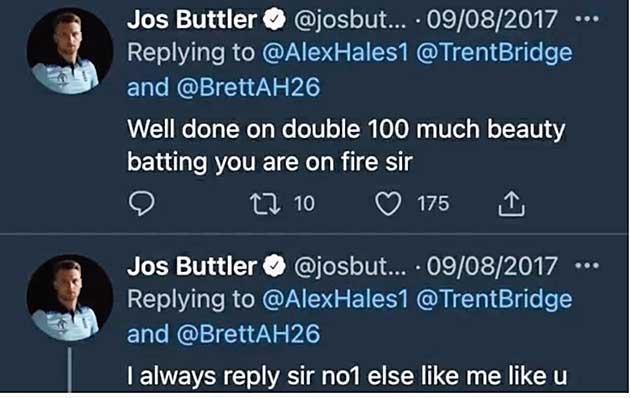 Jos Buttler's tweet from 2017