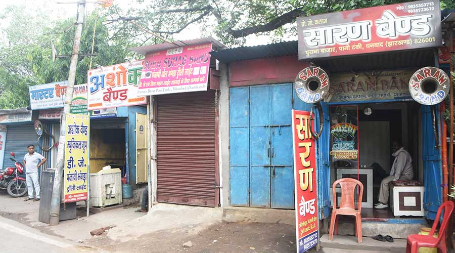 The offices of wedding bands near Pani Tanki in Purana Bazar, Dhanbad on Thursday.