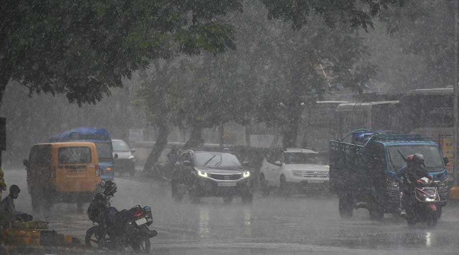 Rain lashes the steel city of Jamshedpur on Thursday.
