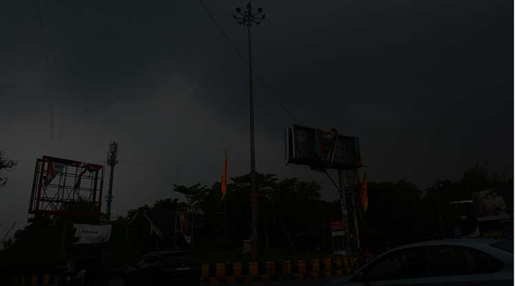 Dark clouds over the steel city Jamshedpur on Thursday.