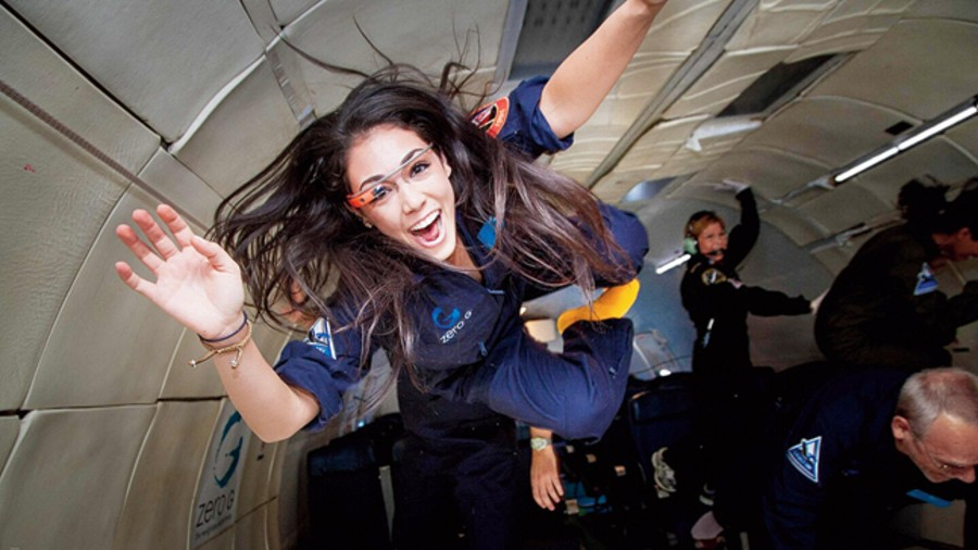 Kellie Gerardi, a researcher for the International Institute for Astronautical Sciences, experiences weightlessness on a Zero Gravity plane. Virgin Galactic is supposed to fly her on an upcoming launch.
