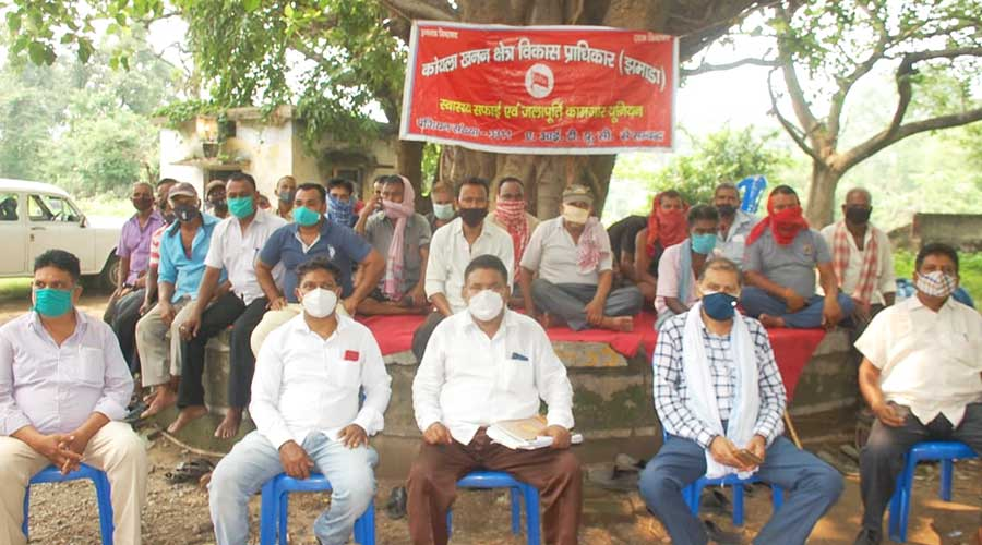 JMADA workers during the meeting at the water treatment plant of Jamadoba in Jharia on Thursday.