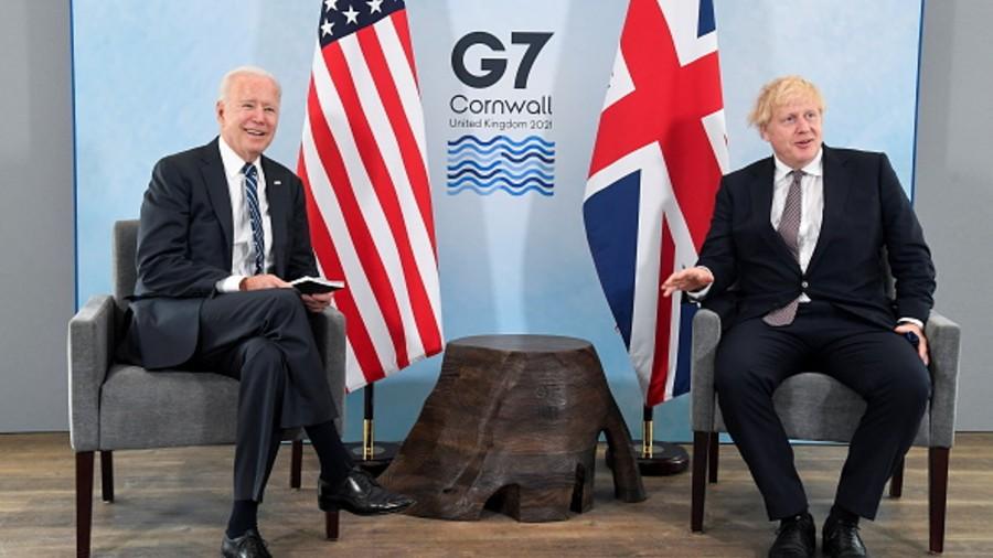 Britain's Prime Minister Boris Johnson meets with U.S. President Joe Biden, ahead of the G7 summit, at Carbis Bay Hotel