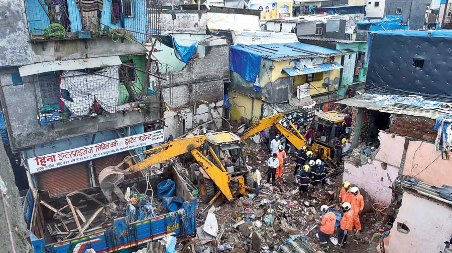 Rescue operations under way after the house collapse in Mumbai.