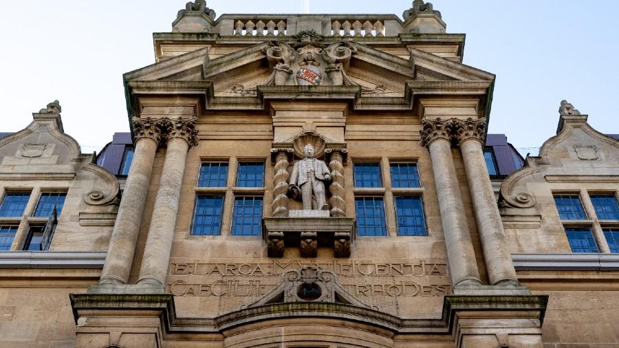 The Rhodes statue in Oriel College, Oxford