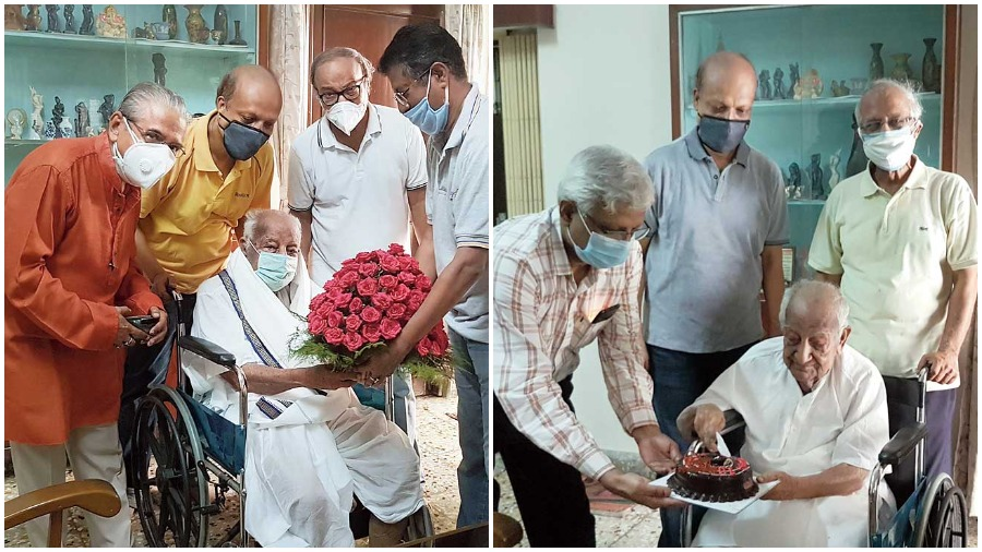 Mihir Kumar Chatterjee being felicitated by members of EC Block Residents' Association and (right) cutting a cake gifted by BE College Ex-Students Club, Bidhannagar.