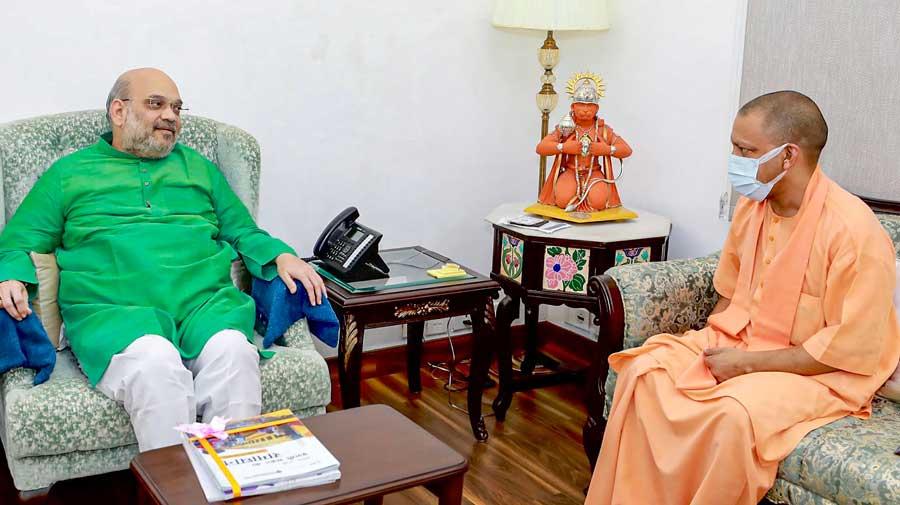 Uttar Pradesh chief minister Yogi Adityanath meets Home minister Amit Shah in New Delhi.