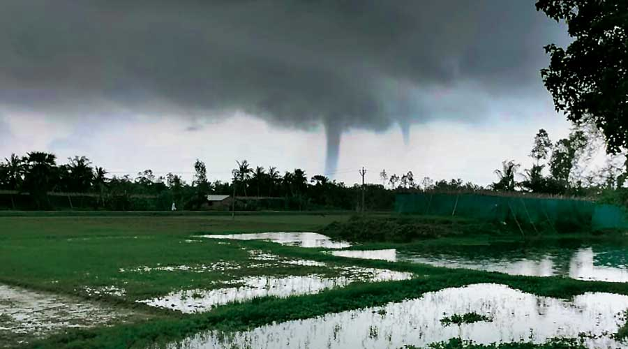 A waterspout, a whirling column of air and water mist, was seen near the southernmost tip of Bengal.