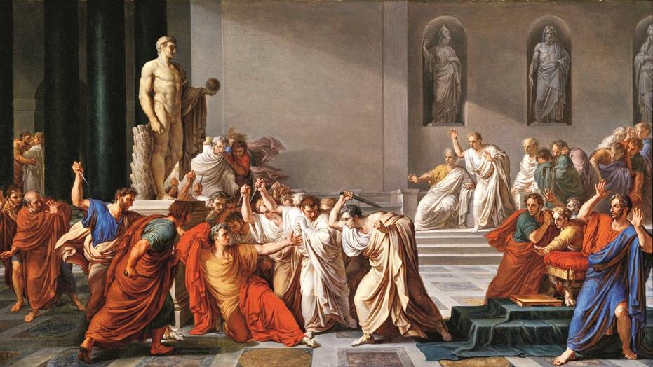 A 19th-century painting, La morte di Cesare, by Vincenzo Camuccini.