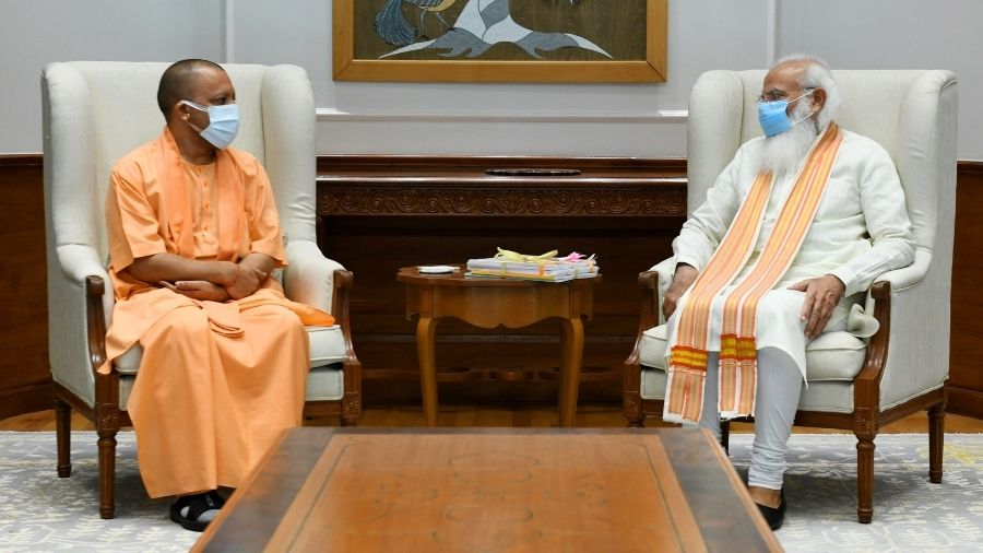 Narendra Modi during a meeting with Yogi Adityanath at his residence in New Delhi on Friday.