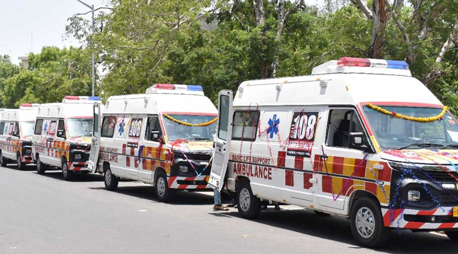The first lot of  Tata Winger ambulances at Gandhinagar in Gujarat on Friday.