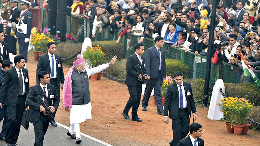 Narendra Modi at the Republic Day Parade, 2017.