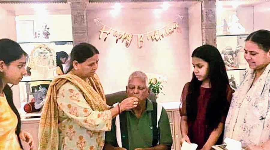 Lalu Prasad celebrates his 74th birthday on Friday with wife Rabri Devi at his side at the Delhi residence of their daughter Misa Bharti