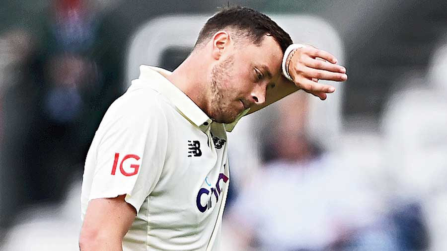 Ollie Robinson reacts during Day 2 of the First LV= Insurance Test Match between England and New Zealand at Lord's Cricket Ground on June 03, 2021 in London.