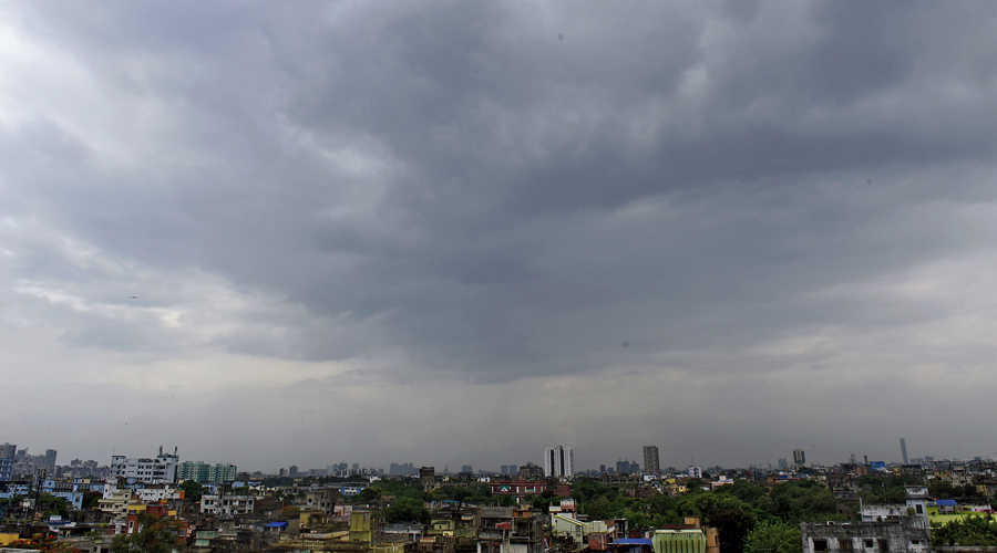A cloudy city sky on Saturday evening.