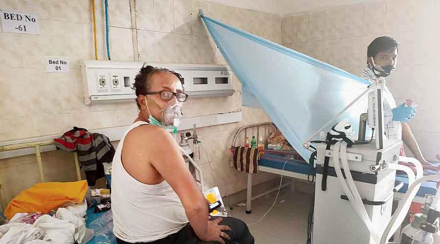 A ventilator  in use at a government facility in Ranchi