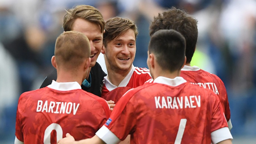 Aleksei Miranchuk of Russia celebrates with team mates after victory in the UEFA Euro 2020 Championship Group B match between Finland and Russia at Saint Petersburg Stadium