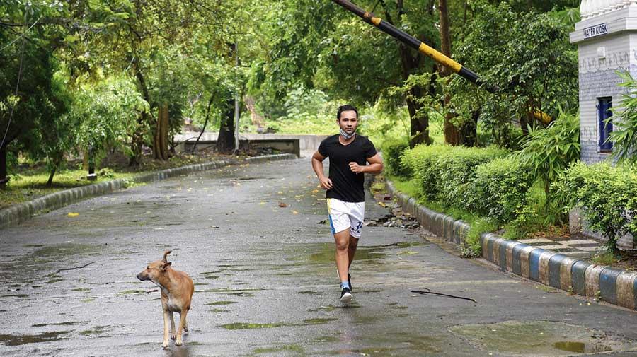 A jogger at Rabindra Sarobar on Wednesday morning.