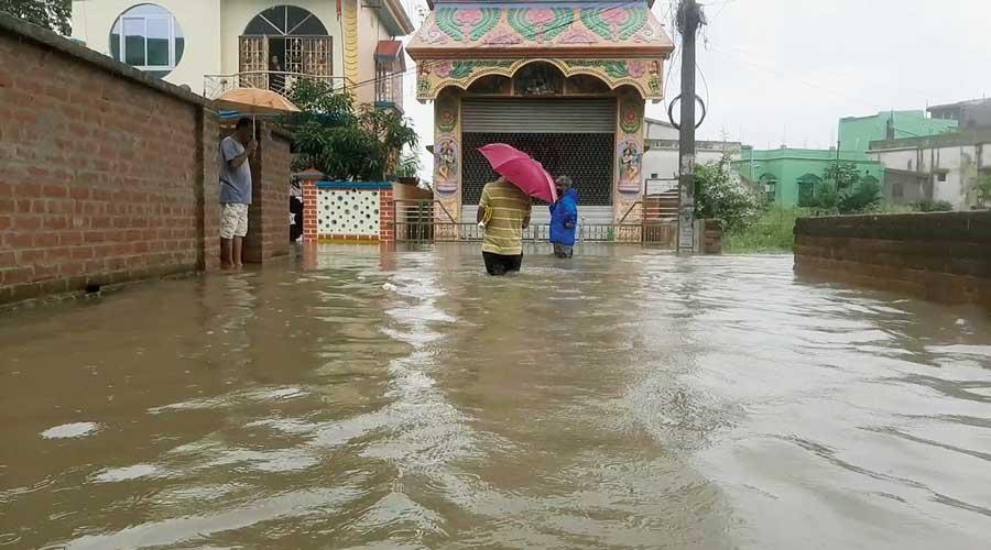 The flooded Ramkrishna Pally in Bankura on Thursday.